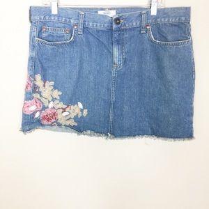 Old Navy Denim Embellished Embroidered Mini Skirt